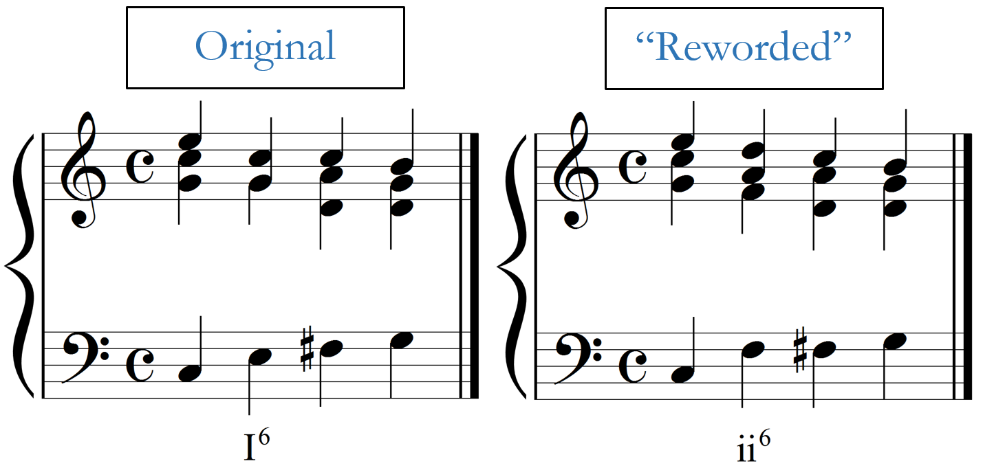 Comparison of the original third measure and a 'reworded' version.