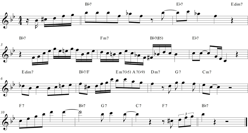 Transcription of the second chorus of Sonny Stitt's solo on 'Dig Dr. Woody.' Transcription by author.