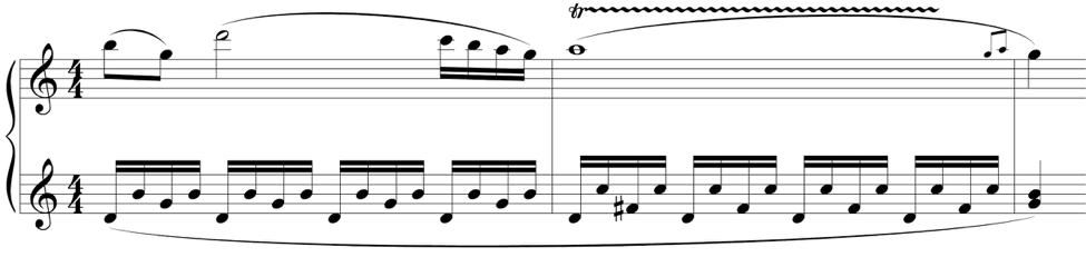 Measures 24–26 of the first movement of Mozart's Piano Sonata No. 16 in C Major (K. 545).