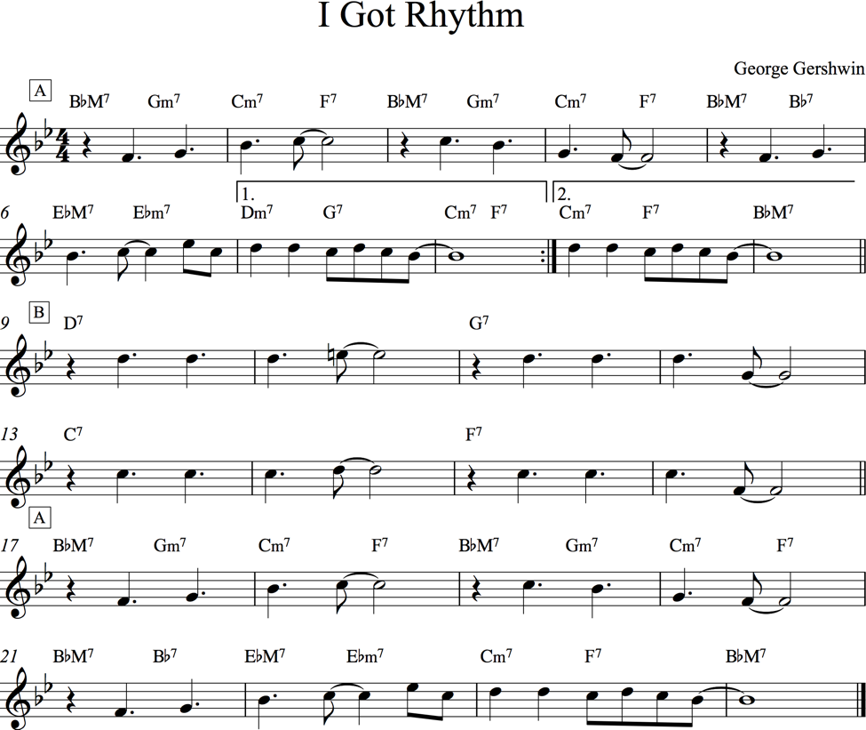 'I got rhythm' lead sheet.