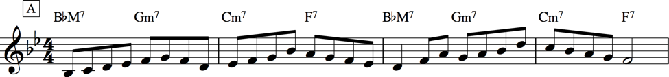 Example improvisation over mm. 1–4 of Rhythm changes that incorporates passing tones between chord tones.