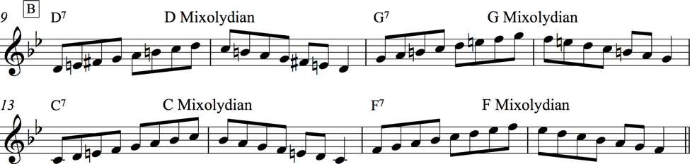 Notation of the four mixolydian scales rooted on D, G, C, and F, in the B section of Rhythm changes.