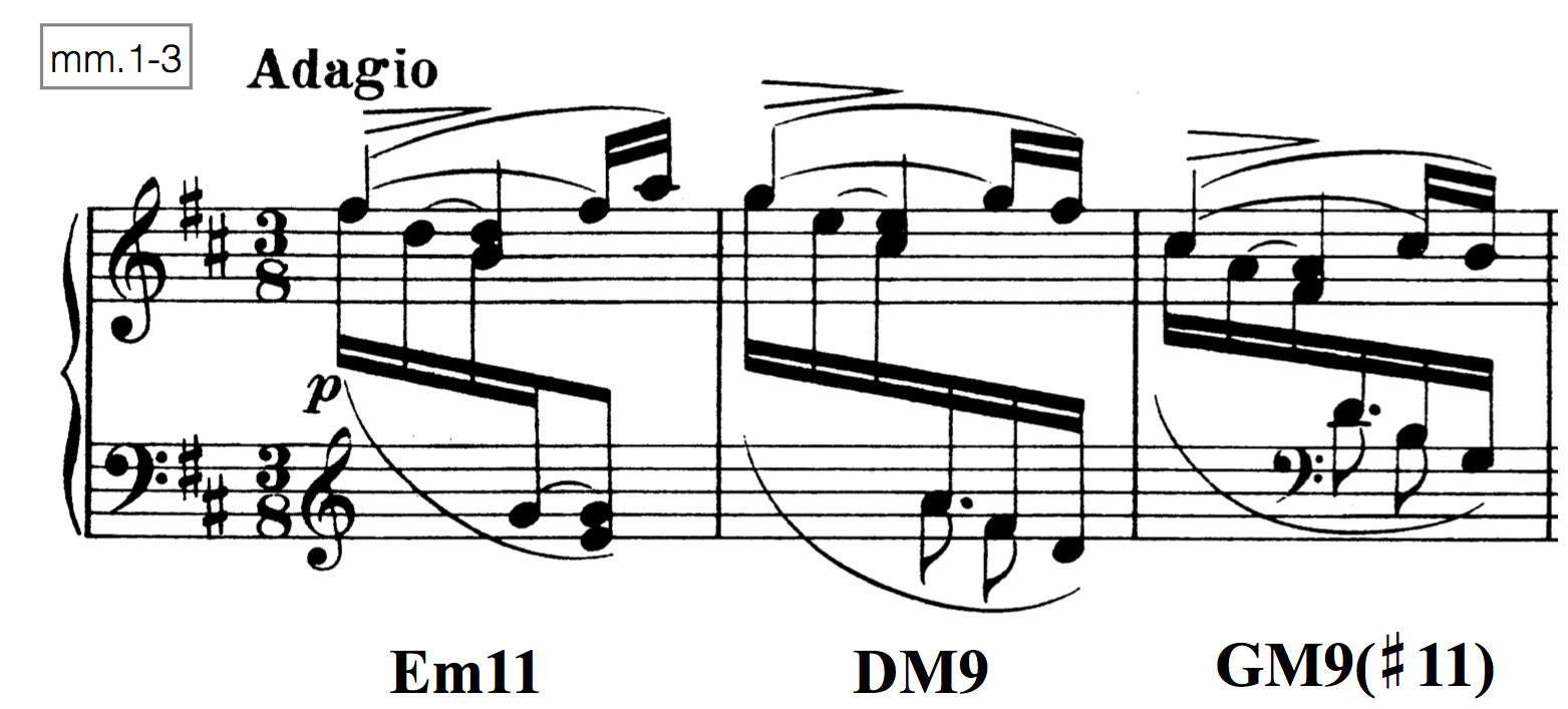 Measures 1–3 of Johannes Brahms, Intermezzo No. 1, Op. 119.