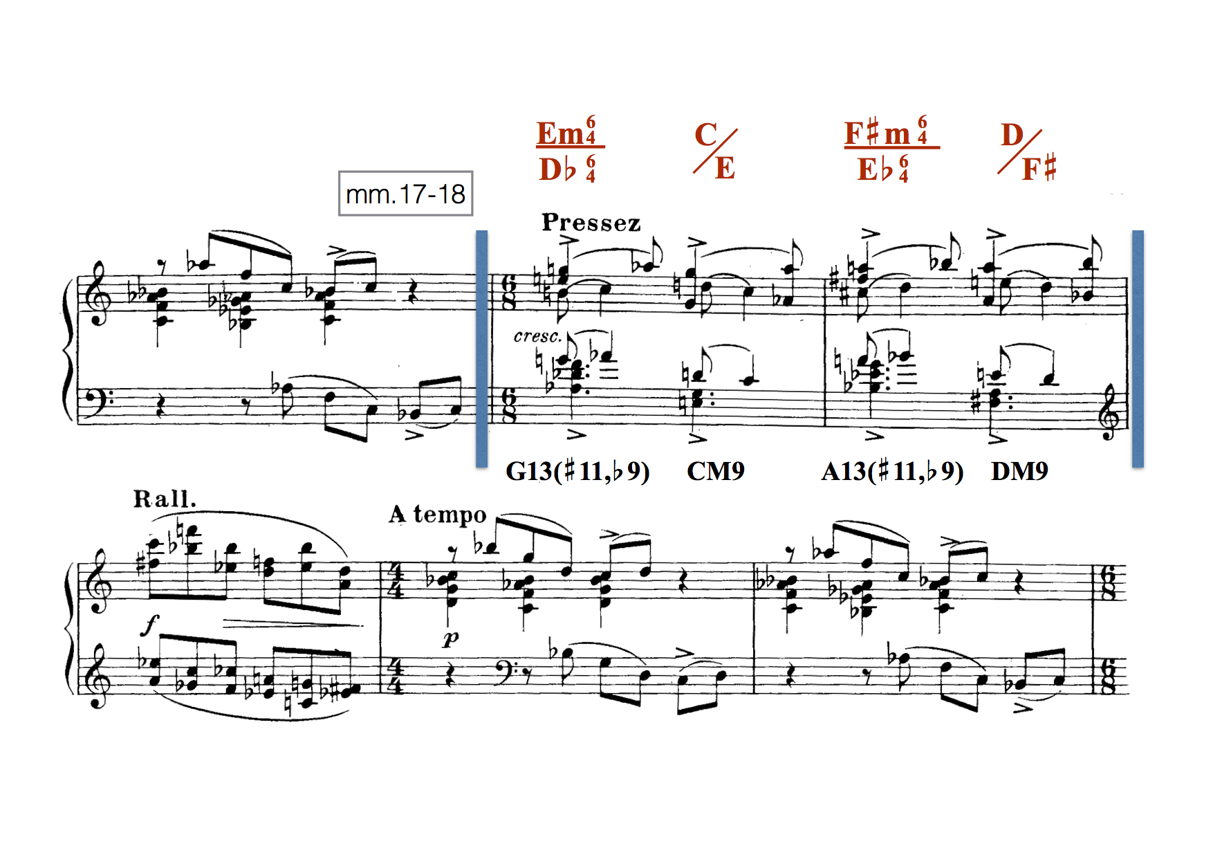 Measures 17–18 of Olivier Messiaen, VII Plainte calme.