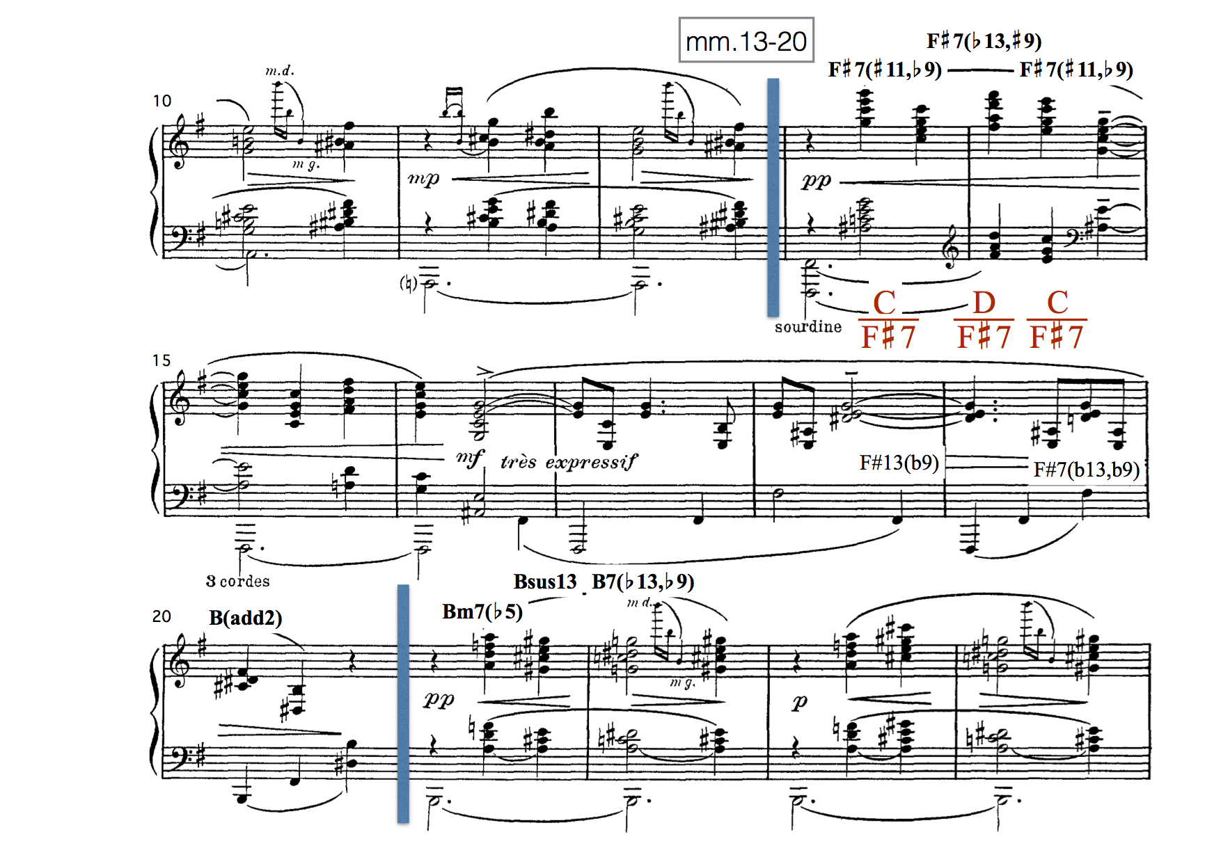 Measures 13–20 of Maurice Ravel, Valses nobles et sentimentales, Part VIII.