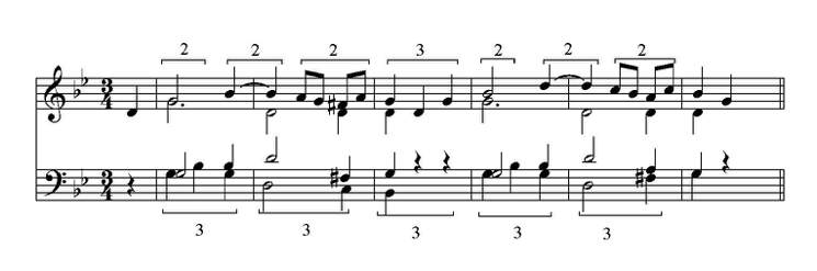 Figure 1. Excerpt from Mozart, Symphony No. 40, mvt. 3, piano reduction. Brackets delineate the conflicting 2-beat layers in the treble staff and 3-beat layers in the bass staff against the 3/4 meter.